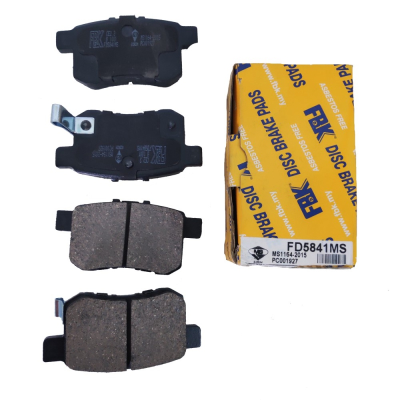 FBK Rear Brake Pads for Honda Civic SNA, Honda Accord SDA / TAO  1 Set (Ref  Part No: FD5841MS)
